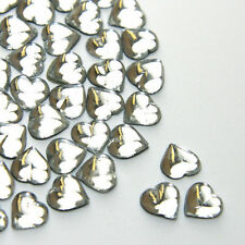 Diamante Me Crystal Clear Glass Heart Flat Back Rhinestone gems 50 per pack