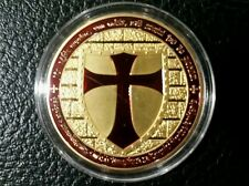 1 OZ Gold 100 Mills .999 fine Masonic Cross Knights Templar Coin Round Bullion