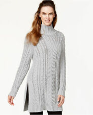 Vince Camuto Sweater Womens M Tunic Mixed Cable Knit Heather Grey Medium New