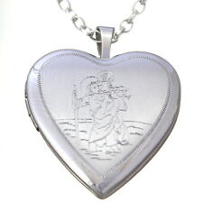 "SILVER ST SAINT CHRISTOPHER HEARTS LOCKET PENDANT WITH 18"" CHAIN - TRAVEL GIFT"