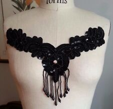 "10 1/2"" FRINGE Bead & Sequin RHINESTONE Neckline Applique - BLACK"