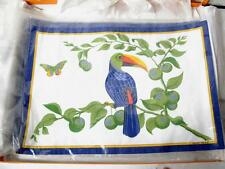HERMES TOUCANS SINGLE BIRD TWO  PLACEMATS AND TWO SERVIETTES