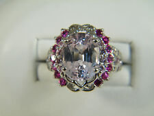 RING: SIZE 7,  QUALITY PINK KUNZITE OVAL RED/PINK RUBY SAPPIRE 925 STERLING