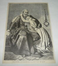 1879 magazine engraving ~ GUY DE DAMPIERRE And His Daughter In Prison