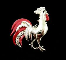 Gerry's ROOSTER BROOCH Vintage Pin Male CHICKEN Cock A Doodle Doo! Goldtone Red