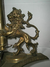 Beautiful Vintage Antique Solid Brass 8 lb Ornate Lion Table Lamp Light No 19436