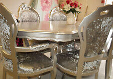 Absolutely Stunning Silver Glitz Shabby Chic Italian table and 6 Chairs