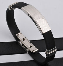 "Unisex Men Women's Stainless Steel Rubber Silicone Bracelet Black Silver 8"" G2"