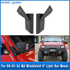 "Windshield 4"" LED Light Bar Mounting Brackets For Jeep Cherokee XJ MJ 84-01"