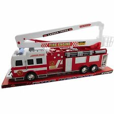 Firefighter Rescue Engine Fire Truck with Ladder and Basket Friction Powered Toy