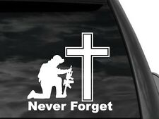 """Never Forget Kneeling Soldier & Cross Window Decal Sticker in White 8""""x8"""