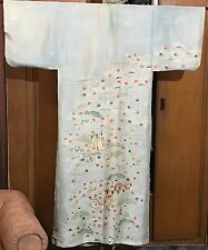 Antique Chinese Silk Print With Hand Embroidery Kimono Robe Textile