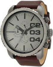 BRAND NEW DIESEL DZ4210 DOUBLE DOWN 51 BROWN LEATHER STRAP GUNMETAL MENS WATCH