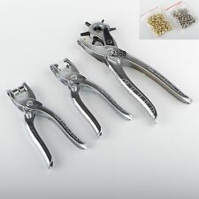 Leather Belt Hole Punch + Eyelet Plier + Snap Button Grommet Setter Tool Kit 3pc