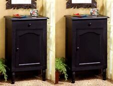 Set of Two **ANTIQUE BLACK WOOD STORAGE CABINET, SIDE, END OR NIGHT TABLE ** NIB