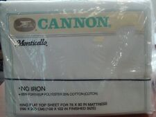 NEW! vtg KING FLAT Sheet Cannon Monticello Solid BLUE 70s 80s USA
