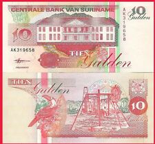 Suriname P137b, 10 Gulden, banana stalk, bank / Toucan, hibiscus flower UNC