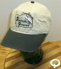 NWT MONTANA WALLEYES FOREVER ADJUSTABLE HAT BEIGE & BLACK EMBROIDERED GRAPHICS