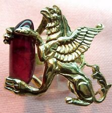 7ct Rubylite Tourmaline 14k Solid Yelow Gold Handmade Griffin Ring skais N16
