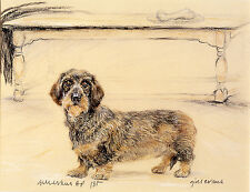 DACHSHUND WIRE HAIRED DAXI GERMAN SAUSAGE DOG ART - Artists Proof # 6/85