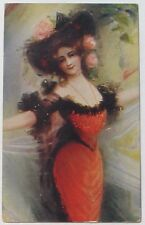 Gorgeous Glamour Lady Tight RED Dress Big Black HAT w/ Pink Roses postcard c1910