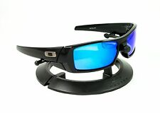 OAKLEY GASCAN POLISHED JET BLACK FRAME / REVANT ICE BLUE POLARIZED CUSTOM LENSES