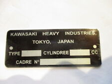 Panneau Plaque id d'étiquette Kawasaki Moteur vélo s21 2