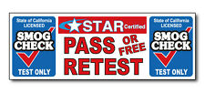 SMOG CHECK - Test Only Pass or Free Retest Star 3'x8'  Vinyl Banner Sign