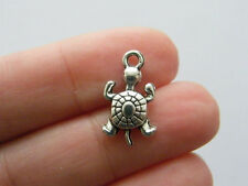 6 Turtle charms antique silver tone FF136