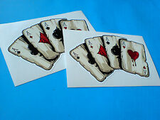 FOUR ACES Large Playing Cards Hot Rod Vintage Helmet Car Stickers  2 off 120mm
