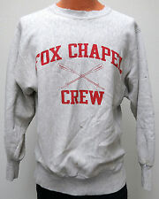 vtg FOX CHAPEL CREW 80s Champion Reverse Weave Gray SWEATSHIRT L warmup distress