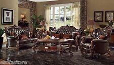 Formal Traditional Antique Sofa Loveseat & Chair w Pillows Living Room 3pc Set