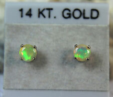 OPAL - 14K Gold PETITE Genuine Ethiopian Play-of-Color Stud Earrings 0.29ctw