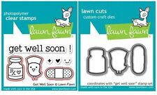 Lawn Fawn Photopolymer Clear Stamp & Die Combo  ~ GET WELL SOON ~ LF682, LF683