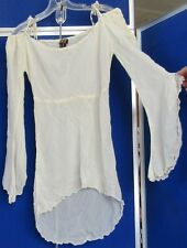 EUC Sexy TUNIC TOP by DEX Fresh PRODUCTS Ivory w.BARE SHOULDER & ASYMMETRICAL XS