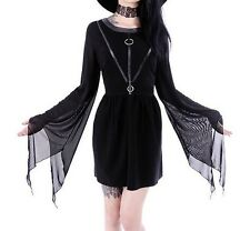 COVEN TUNIC Black gothic dress, leather straps, witchcraft fashion Size M
