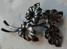 vintage signed Danish N E FROM 925 s SILVER leaf flower brooch -AX289