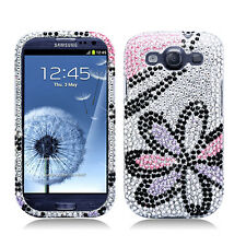 For Samsung Galaxy S III 3 Crystal Diamond BLING Case Cover White Pink Flower