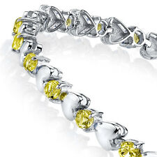 925 Sterling Silver Yellow Heart Shaped Cubic Zirconia Puff Tennis Bracelet