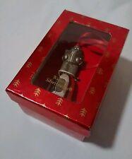 "WALLACE SILVERSMITHS TEDDY PEWTER BELL ORNAMENT  BEAR CAROLER  3"" BOX EUC"