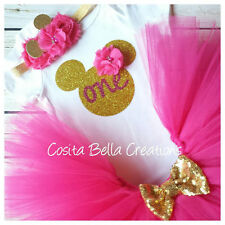 first birthday outfit ,Minnie Mouse outfit, Pink And Gold Onesie,Handmade