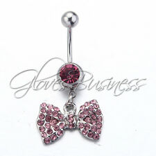 1pc Pink Bowknot Surgical Steel Body Piercing Navel Belly Ring Stud Bar