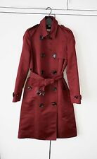 BURBERRY Ruby Red Maroon Wine Burgundy Satin Trench Coat Mac NEW