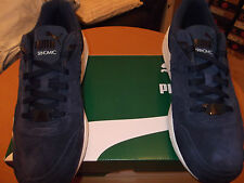 MENS PUMA R698 ALLOVER SUEDE TRAINERS. NAVY SIZE 9.