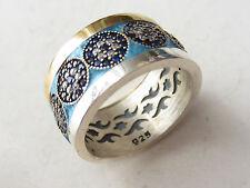 Turkish 925 Sterling Silver Evil Eye Nazar Blue Enamel Zircon Band Ring 6.75