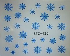 Nail Art Water Decals Stickers Christmas Snow Blue Snowflakes Gel Polish (420B)
