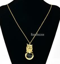 """Gold 5X Magnifying Glass Baby Owl Pendant 31"""" Chain Necklace SJ026G"""