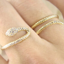 Women's Snake Ring Wrap Two Fingers Crystal Yellow Gold Plated Size Adjustable