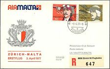 COVER LETTRE 1ER VOL FIRST FLIGHT MALTE MALTA AUTRICHE VIENNE WIEN 1977 RECOM