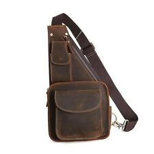 Men's Vintage Genuine Leather Shoulder Bag Sling Bag Chest Brown Backpacks Boy